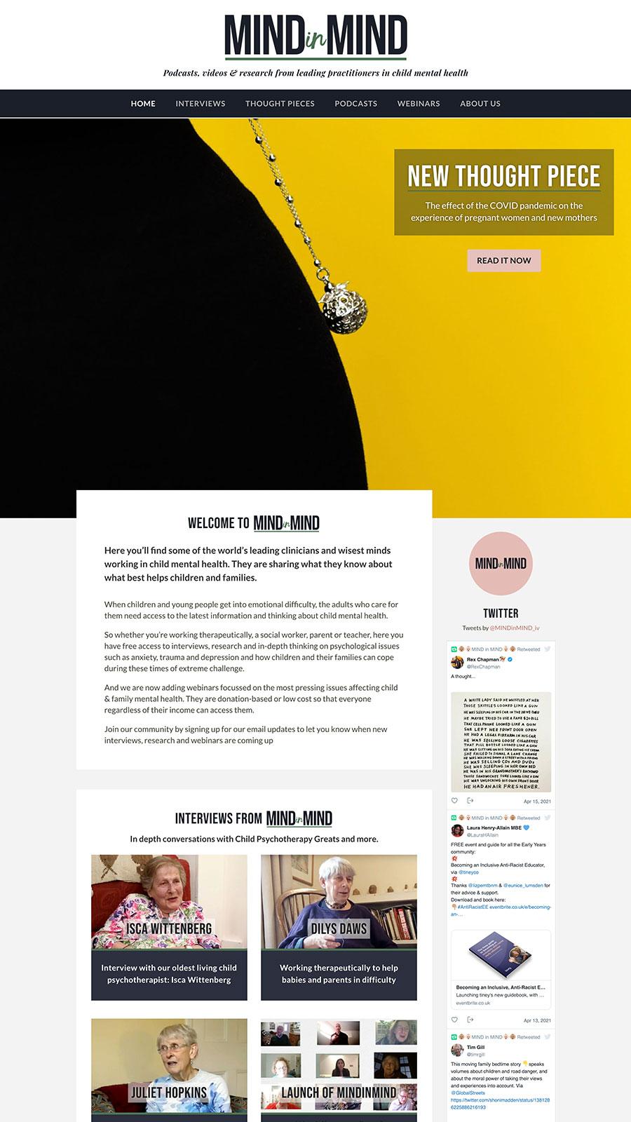 A screenshot of the MINDinMIND website